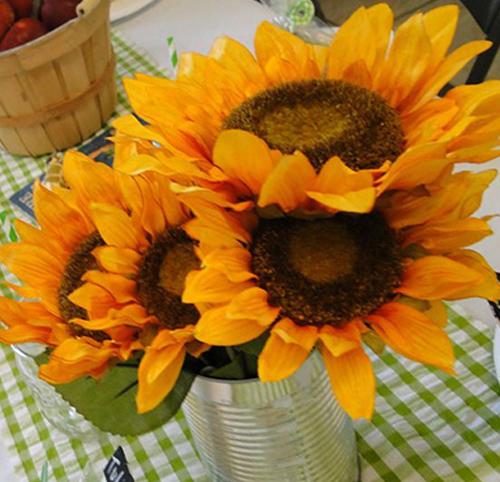 Sunflower buckets decoration for anniversary