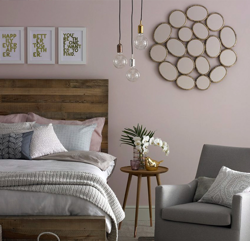 Use pink with a gold and gray background